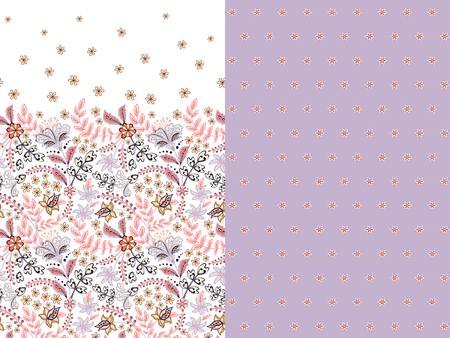 Set of two horizontal seamless floral pattern with paisley and fantasy flowers border. Hand drawn texture for clothes, bedclothes, fabric of the dress etc. Lilac Standard-Bild - 126833398