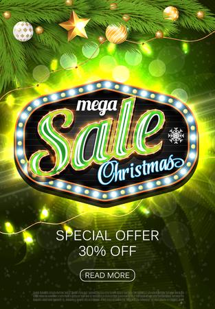 Christmas Sale green banner, placard, poster. Light box. Vector illustration Standard-Bild - 126815757