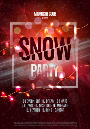 Red Christmas Snow Party Flyer Poster Placard. Vector eps 10