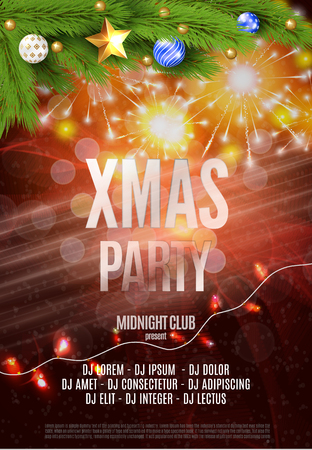 Vector Christmas Party design template. Vector illustration EPS10 Standard-Bild - 126815759