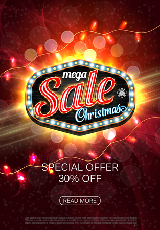 The Christmas sale. Advertising poster for the store with light box. Red banner for website or flyer. Vector. Festive new year design template. EPS10. Standard-Bild - 126815760