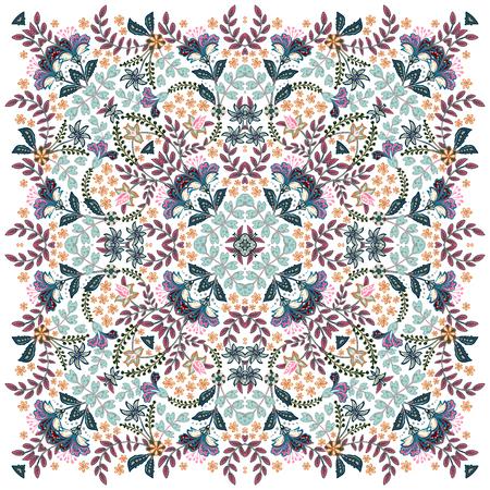 Vector ornate Bandana Print, silk neck scarf or kerchief square pattern design style for print on fabric. Standard-Bild - 126815762