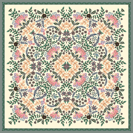 Decorative colorful background, geometric floral doodle pattern with ornate lace frame. Tribal ethnic mandala ornament. Bandanna shawl, tablecloth fabric print, silk neck scarf, kerchief design Standard-Bild - 126815764