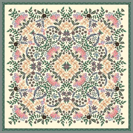 Dekorativer bunter Hintergrund, geometrisches Blumengekritzelmuster mit verziertem Spitzenrahmen. Stammes-ethnische Mandala-Verzierung. Bandana-Schal, Tischdecken-Stoffdruck, Seidenhalstuch, Kopftuch-Design