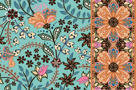 Set di motivi floreali senza soluzione di continuità e bordo per il design. Illustrazione di vettore di tiraggio della mano. Sfondo senza soluzione di continuità con i fiori.