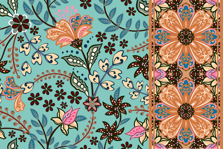 Set of seamless floral pattern and border for design. Hand draw vector Illustration. Seamless background with flowers.