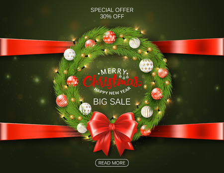 Festive Christmas sale wreath with balls, spruce branches, bow, lettering. Realistic vector? 3d illustration Standard-Bild - 126802616