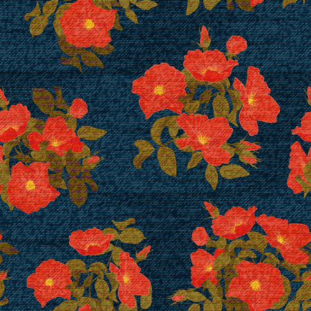Floral seamless pattern. Colorful flowers on the dark backdrop. The effect of embroidery on denim
