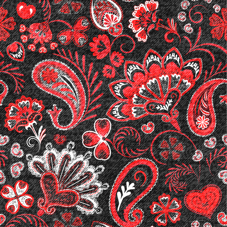 Denim seamless pattern. Denim floral background. Black jeans cloth. Jeans background hand draw paisley flowers