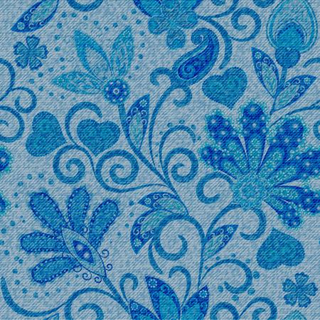 Dżinsowy wzór. Denim kwiatowy tło. Niebieskie dżinsy. Dżinsy tło ręcznie rysują kwiaty paisley
