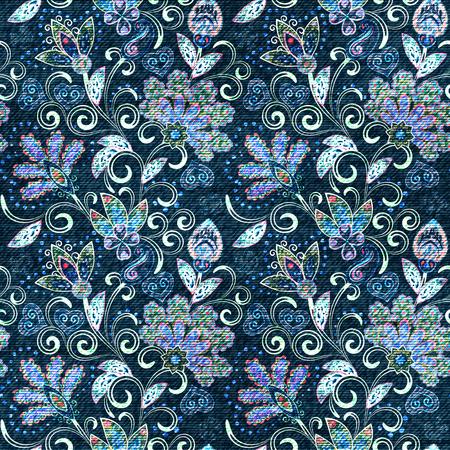 Denim seamless pattern. Denim floral background. Blue jeans cloth. Jeans background hand draw paisley flowers Standard-Bild - 126802622