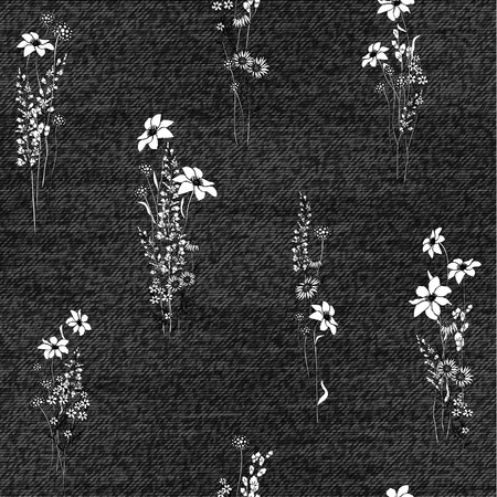 Realistic jeans seamless texture in gray colors with floral pattern. Denim background. Vector illustration. Black and white Иллюстрация