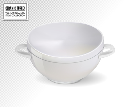 Realistic ceramic ware. Tableware for cooking, cooking utensils for serving table, food, lunch and dinner, a bowl for soup. Vector 3d illustration isolated. Standard-Bild - 126780616