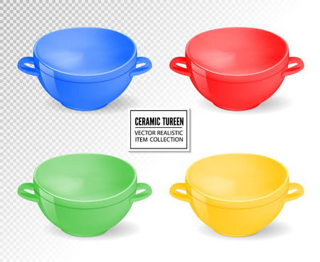 Realistic ceramic ware set. Different colors tableware for cooking, cooking utensils for serving table, food, lunch and dinner, a bowl for soup. Vector 3d illustration isolated. Standard-Bild - 126780617
