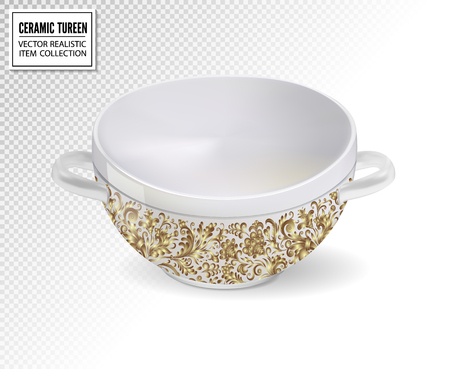Realistic ceramic ware with ornate pattern. Tableware for cooking, cooking utensils for serving table, food, lunch and dinner, a bowl for soup. Vector 3d illustration isolated. Standard-Bild - 126780618