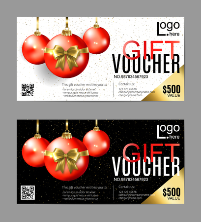 Two Gift Voucher design with decorative Christmas balls in different color option. Vector Standard-Bild - 126780622