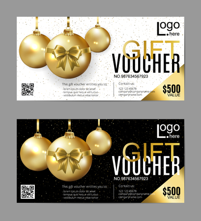 Vector gift voucher template with christmas balls. Golden, black and white holiday cards. Design concept for gift coupon, invitation, certificate, flyer, banner, ticket.