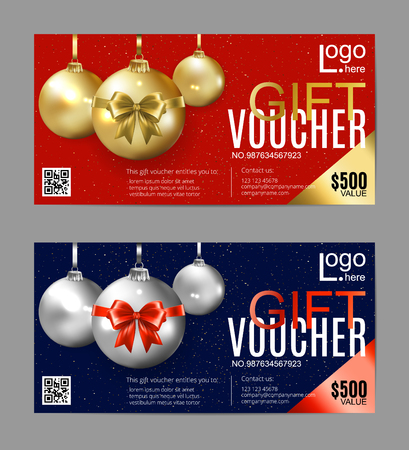 Christmas gift certificate. New Year gift voucher. Golden and silver christmas balls on a red and blue background. Standard-Bild - 126780624