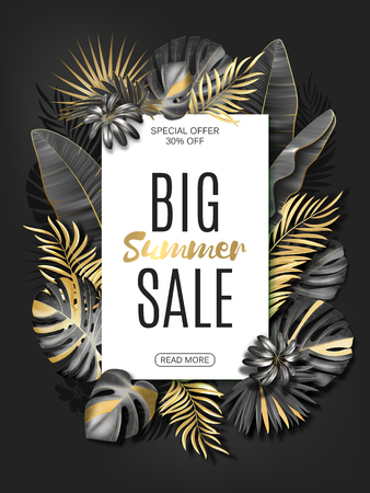Vector vertical advertising banner or poster template with black and gold tropical leaves on dark grey background. Exotic botanical design. EPS10