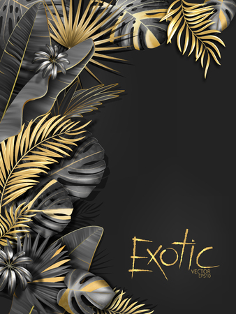 Vector exotical background with black and gold tropical leaves on dark gray background. Luxury exotic botanical design for spa, perfume,cosmetics, aroma, beauty salon etc.