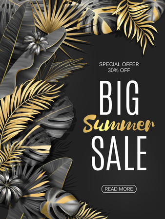 Big sale vertical banner. Summer sale tropical leaves poster. Exotic gold and black leaves and plants background. Vector eps10