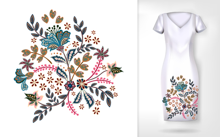 Embroidery colorful trend floral pattern. Vector traditional ornamental flowers pattern on dress mock up. Can be used in dressing clothes, textiles, household items.