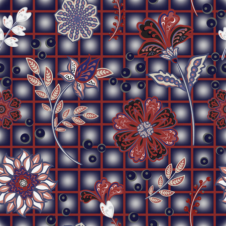 Hand draw blooming garden flowers on window check or grid seamless pattern. Vector repeat pattern for fashion, fabric, and all prints.