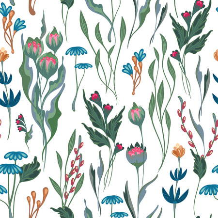 Unusual bright floral pattern with hand draw fantasy flowers. Vector background.