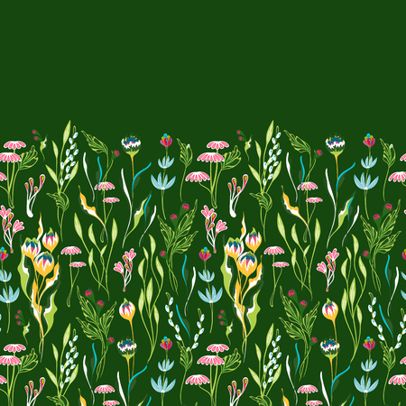 Vector seamless floral border. Herbs and wild flowers. Botanical Illustration engraving style. Colorful pattern on green background