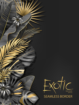 Vertical line floral seamless pattern made with gold and black leaves of tropical plants on dark gray background. Tropic rain forest foliage border. Vector illustration.
