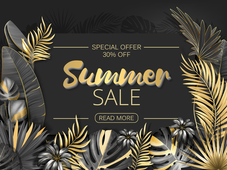 Sale. Summer sale tropical leaves frame on striped backdrop. Tropical flowers, leaves and plants background. Gold and black Illustration
