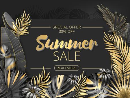 Verkauf. Sommerverkauf tropische Blätter Rahmen auf gestreiftem Hintergrund. Tropische Blumen, Blätter und Pflanzenhintergrund. Gold und Schwarz