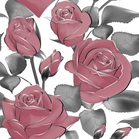 Vector pattern flowers leaves Rose buds blossom pastel pink silver seamless decoration background Illustration