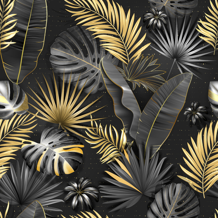 Seamless tropical pattern. Leaves palm tree illustration. Gold, gray, black lives