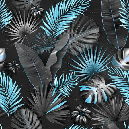 Modello tropicale senza soluzione di continuità. Lascia l'illustrazione della palma. Vite blu, grigie, nere Vettoriali