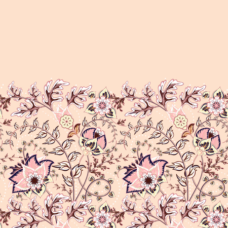 Seamless floral banner frame. Seamless border with hand draw fantasy flowers. Doodle pastel colors pattern