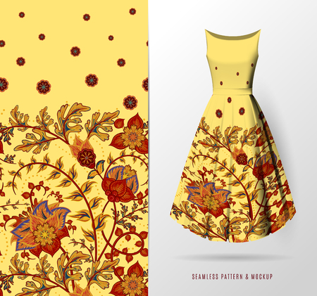 Vector seamless pattern of hand draw fantasy flowers on women's dress mockup. Hand-drawn ornate pattern with an example of application. Btown on yellow