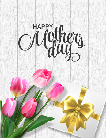Pink tulips and gift box on a wooden background. Realisic vector, 3d. Mohter day, womens day, birthday greeting card template.