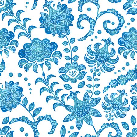Patrón transparente de flores azules sobre un fondo blanco, un adorno al estilo holandés, Delft, Gzhel, porcelana japonesa, fondo para diferentes diseños: platos, telas, etc. Vector