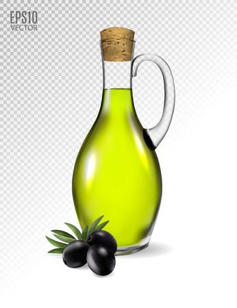 Un tarro con aceite de oliva y unas aceitunas negras aisladas sobre un fondo transparente. Vector fotorrealista, 3d