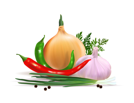 Garlic, pepper and onion vegetables with parsley spice isolated on white background