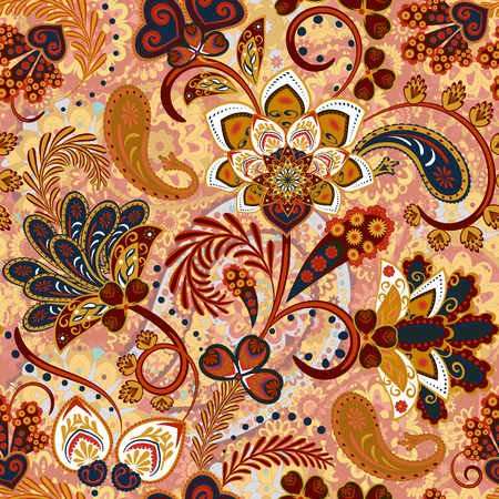 Paisley seamless pattern with flowers in indian style. Floral vector background. Brown