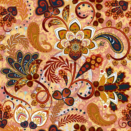 Patrón sin fisuras de Paisley con flores en estilo indio. Fondo floral del vector. marrón