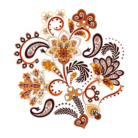 Embroidery. Bouquet with beautiful flowers, leaves and paisley. Colorful floral composition on white background. Ilustração