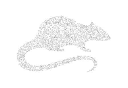 Hand drawn rat for coloring book. Vector, black and white Standard-Bild - 129085973