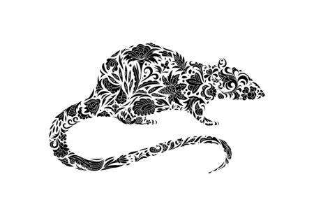 rat. Hand Drawn lace vector illustration Standard-Bild - 129085990