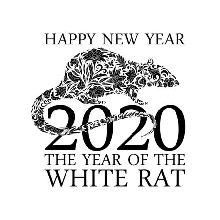 Rat, mice on white background. Lunar horoscope sign mouse. Chinese Happy new year 2020. Year of the rat. Standard-Bild - 129085989