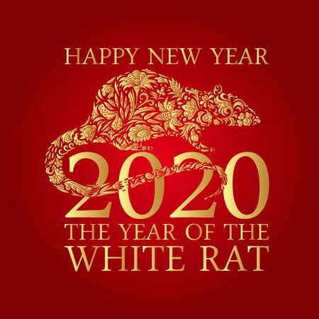 Happy Chinese New Year 2020 year of the rat. Chinese characters mean rat. Zodiac sign for greetings card Standard-Bild - 129085777