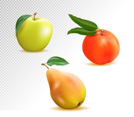 Vector set of realistic fruits: appl, peach and pear. 3d illustration
