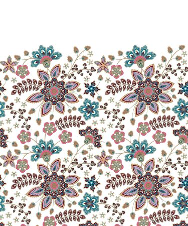 Seamless pattern in ethnic traditional style. Abstract vintage pattern with decorative flowers, leaves pattern in Oriental style. Иллюстрация